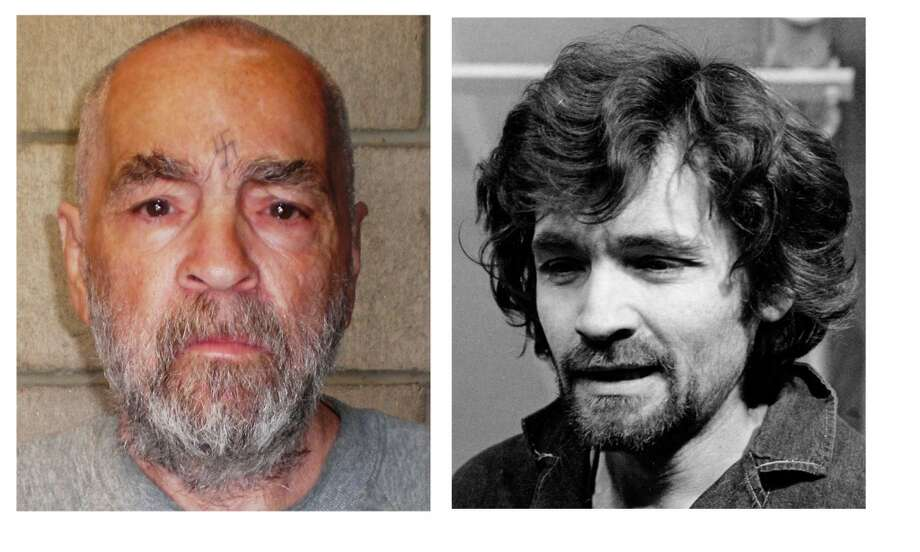 In a Dec. 17, 1970  file photo, right, Charles Manson is pictured en route to a Los Angeles courtroom. At right Manson is shown in a photo made and released Wednesday March 18, 1970 by California corrections officials.. The photo of the 74-year-old Manson was taken Wednesday as part of a routine update of files on inmates at Corcoran State Prison. Photo: AP