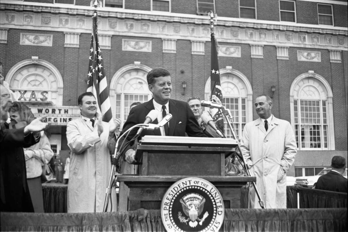 """November 22, 1963: Kennedy delivers a Chamber of Commerce breakfast speech at Hotel Texas in Fort Worth. """"I was a freshman at Tulane University in New Orleans sitting in my German 101 class when the teacher told us that President Kennedy had been shot. She asked the class to say in German, """"The President has been shot,"""" which I thought was weird. We did not know at that time if he was alive or dead. Of course once class let out we learned the awful truth. November 22, 1963 was a Friday and I left for Thanksgiving holiday the next day to return to my hometown of Fort Worth, Texas, and what a coincidence for me. I lived in Fort Worth where President Kennedy gave his last speech of his presidency at the Hotel Texas."""" Ron Scott of Houston"""