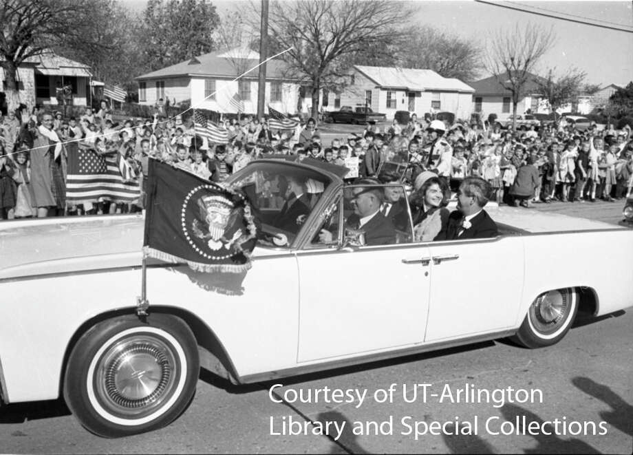 "November 22, 1963: The presidential motorcade drives through the streets of Fort Worth on way to Carswell Air Force Base for a very short flight to Dallas.""I was attending school at Holy Trinity, a Catholic school and church near the route that the President's motorcade would be traveling. A couple days before the event, with the threat of showers, the nuns asked us all to pray so that the weather would be sunny, and Kennedy's convertible would be open. 