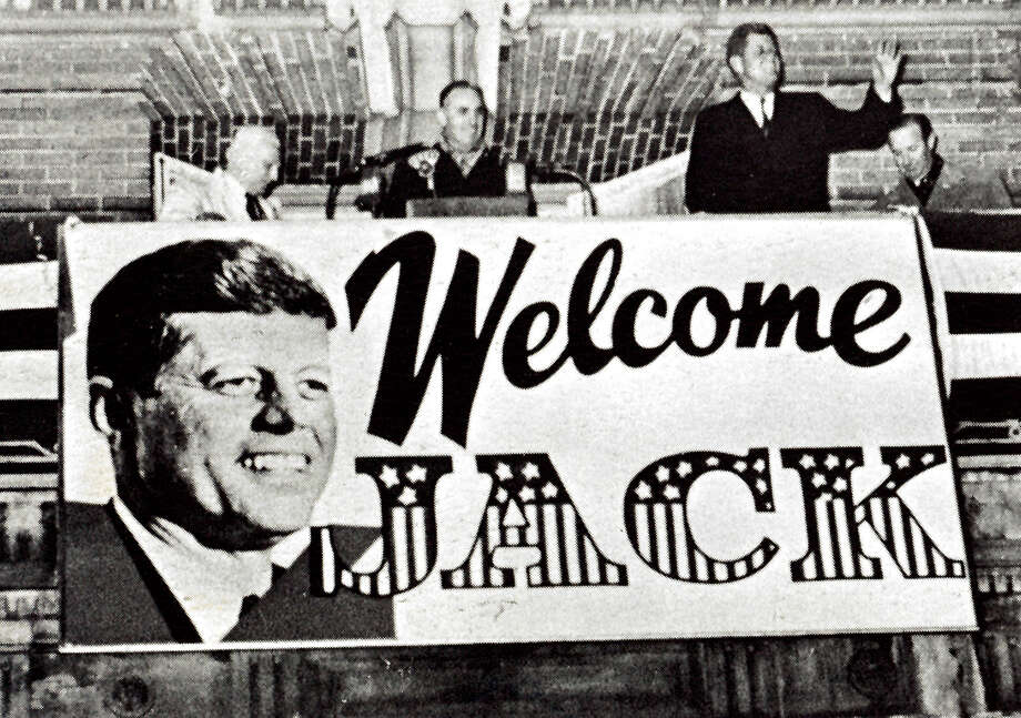 Kennedy in Connecticut - Governor Abe Ribicoff introduces US Senator John F. Kennedy, democratic Presidential candidate, on the balcony of Hotel Roger Smith, in Waterbury on Nov. 6, 1960. Photo: Contributed Photo / Connecticut Post Contributed