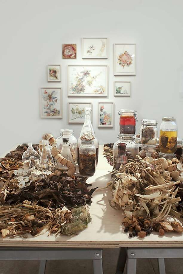 What's left: Emilie Clark's art depicts the remains of her actual family meals, preserved in latex. Photo: Courtesy The Artist.