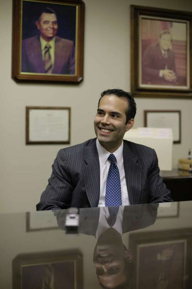 George P. Bush, the grandson of one former president and nephew of another, visits the Republican Party of Texas headquarters to file to run for Texas land commissioner. Photo: Eric Gay / Associated Press