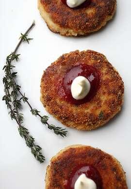 Turkey and mashed potato latkes styled by Amanda Gold in San Francisco, California, on Wednesday, November 20, 2013.