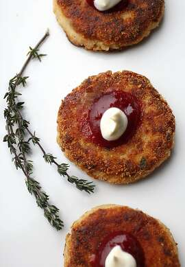 Turkey and mashed potato latkes styled by Amanda Gold in San Francisco, California, on Wednesday, November 20, 2013.