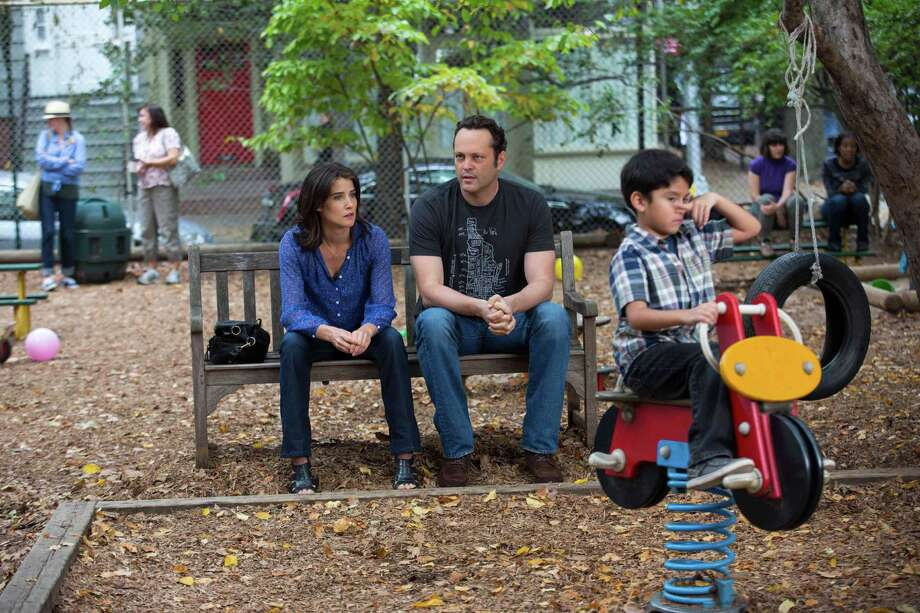 "This image released by Disney DreamWorks II Distribution Co. shows Cobie Smulders, left, and Vince Vaughn in a scene from ""Delivery Man"". (AP Photo/Disney-DreamWorks II Distribution Co., Jessica Miglio) ORG XMIT: NYET533 Photo: Jessica Miglio / Disney-DreamWorks II Distribution Co."