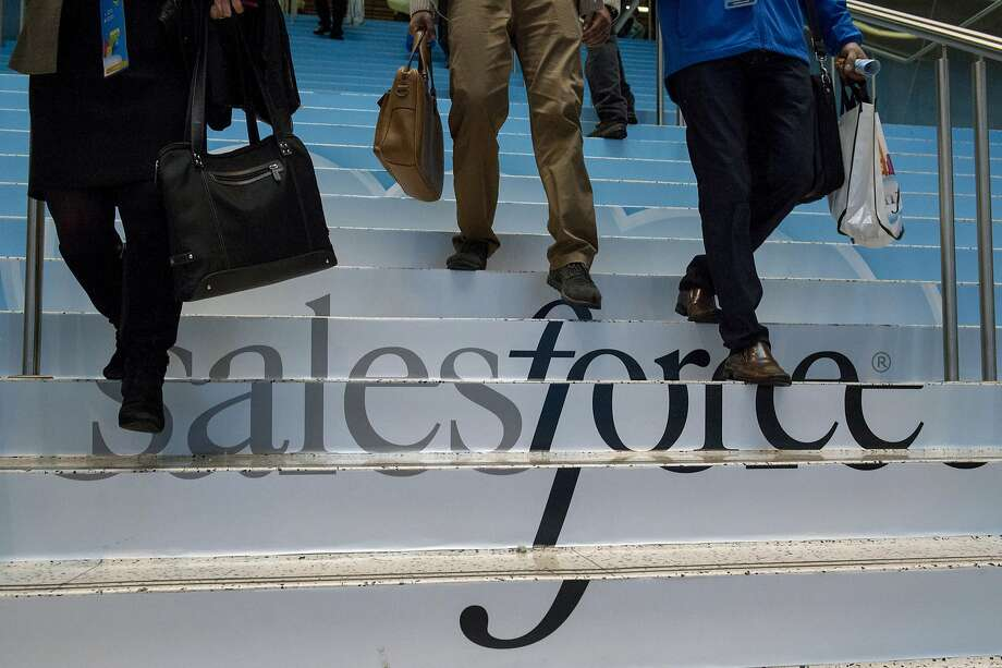 At the Dreamforce conference at Moscone Center, Salesforce.com introduced an overhauled version of its mobile marketing and customer service software. Photo: David Paul Morris, Bloomberg