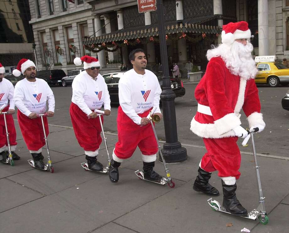 New York, New YorkThis scooting Santa took to the sidewalks in New York City in 2000. Photo: Chris Hondros, Getty Images