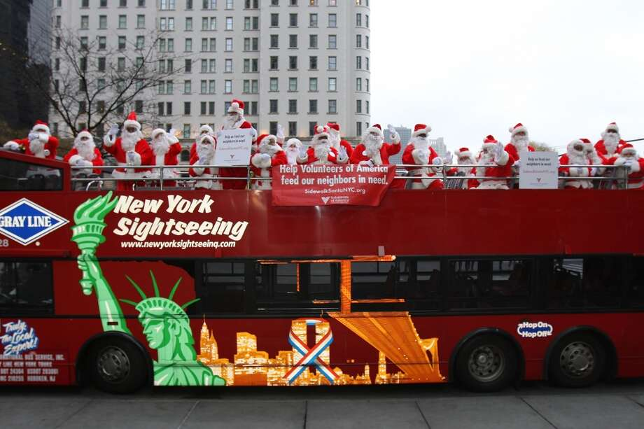 New York, New YorkThese parade Santas get a double decker view of New York in a 2009 parade. Photo: Ben Hider, Getty Images