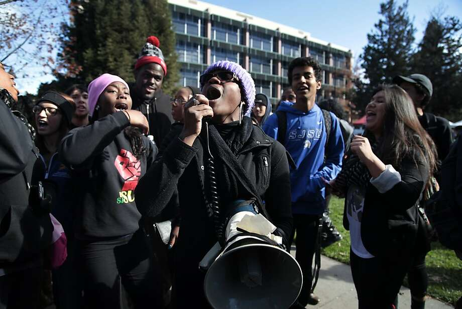 Champagne Ellison leads demonstrators in a chant at a rally on the San Jose State University campus. Photo: James Tensuan, SFC