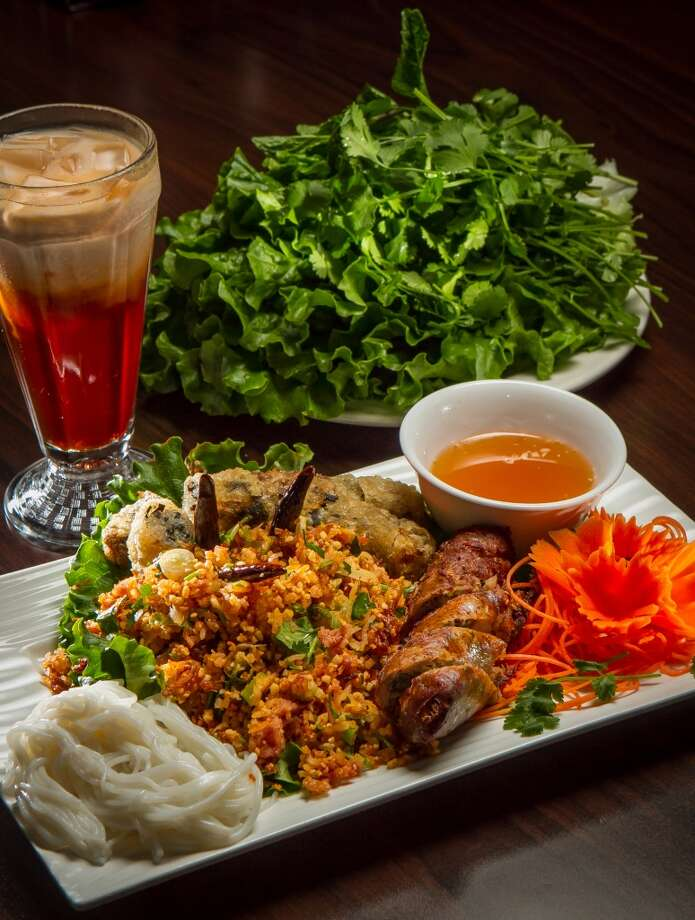 The Champa Sampler with a Thai Ice Tea at Champa Garden in San Francisco. Photo: John Storey, Special To The Chronicle