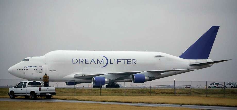 The Boeing 747 LCF Dreamlifter that accidentally landed Wednesday night at Col. James Jabara Airport in Wichita, Kan., drew some attention the next day. Photo: Jaime Green, MBO / The Wichita Eagle