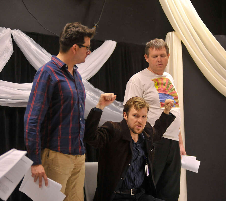 "Michael Arrelano (left), Michael Burger and Carl Adair rehearse a scene for ""Captain Cortez"" at the Overtime Theater. Photo: Robin Jerstad / For The Express-News"