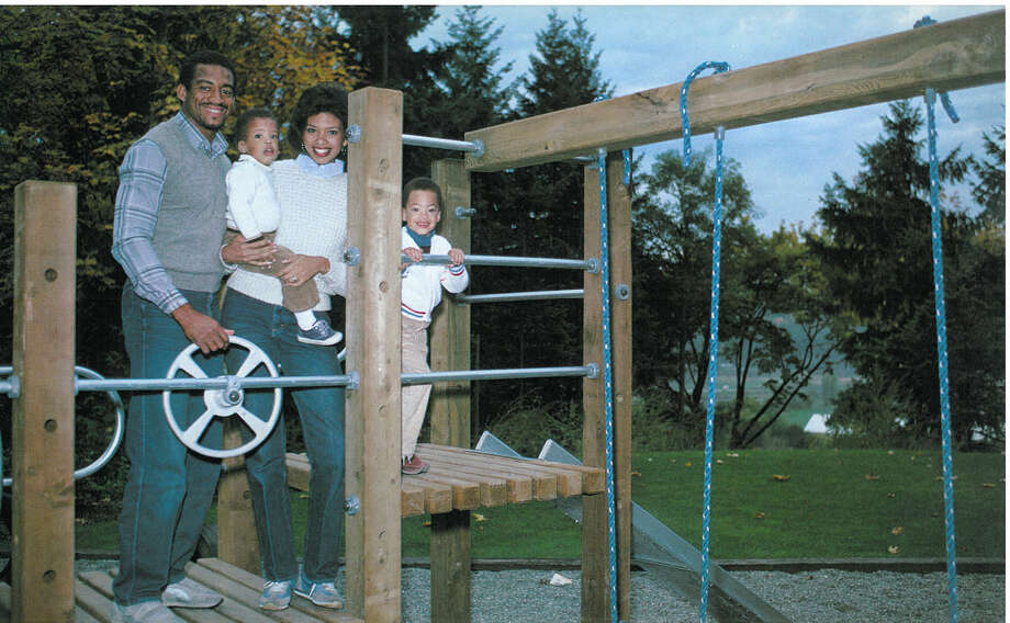 Cornerback Dave Brown is pictured with his wife, Rhonda, and their children. Photo: Corky Trewin/Seattle Seahawks