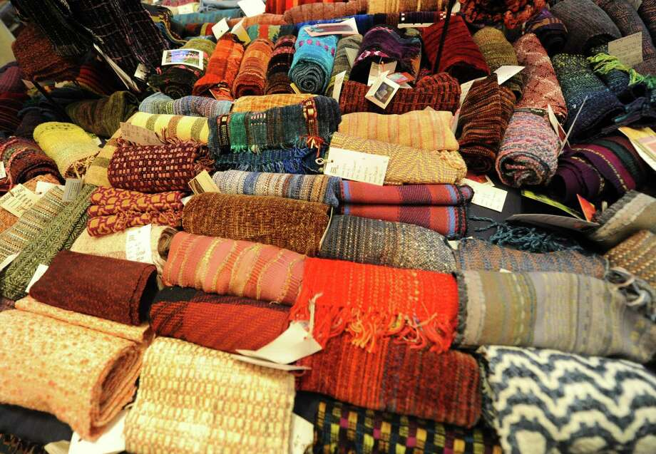 Hand made items for sale at the Hudson-Mohawk Weavers' Guild 35th Annual Show & Sale at the Pruyn House on Thursday, Nov. 21, 2013 in Colonie, N.Y. The event is free an open to the public through Sunday. (Lori Van Buren / Times Union) Photo: Lori Van Buren / 00024694A