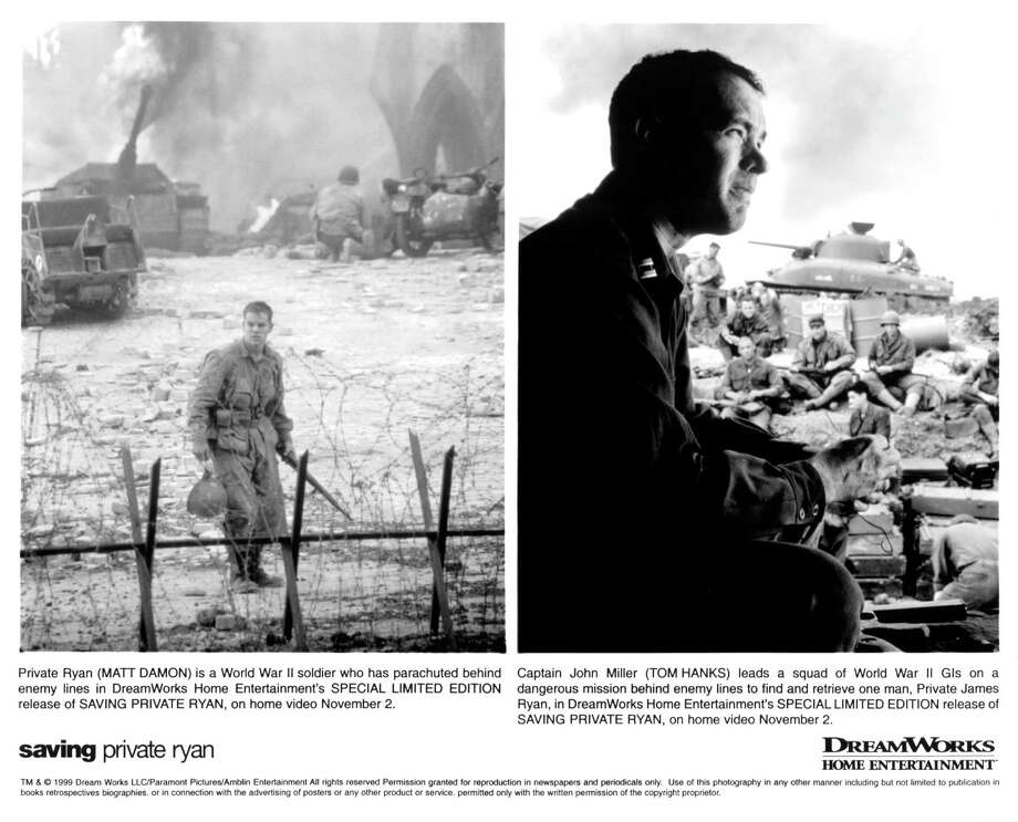 """'Saving Private Ryan' sequel:The sequel would, what? — Have Private Ryan running back into the European theater of World War II for some reason or maybe the Pacific Theater to save someone else? Then, a lot more Americans die because of him and no one thinks it's funny, courageous or heartwarming ... He marries, divorces ... his parents hate him ...Photo: Matt Damon and Tom Hanks on set of the DreamWorks movie """"Saving Private Ryan"""" in 1998. Photo: Michael Ochs Archives, Getty Images / 2013 Getty Images"""