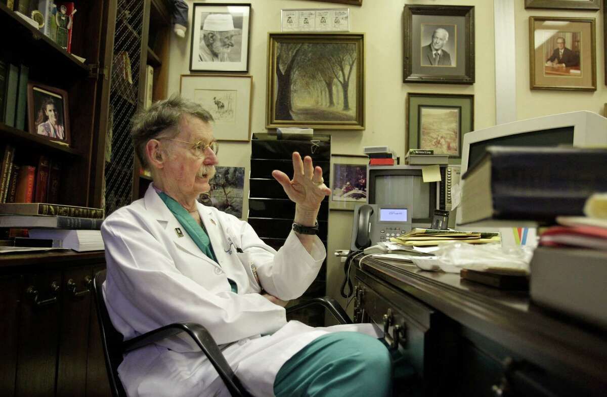 Dr. Red Duke talks in his office at UT medical school Tuesday, Nov. 19, 2013, in Houston. He was a resident at Parkland Hospital in Dallas in 1963 when President John F. Kennedy was taken to the hospital after being shot. ( Melissa Phillip / Houston Chronicle )