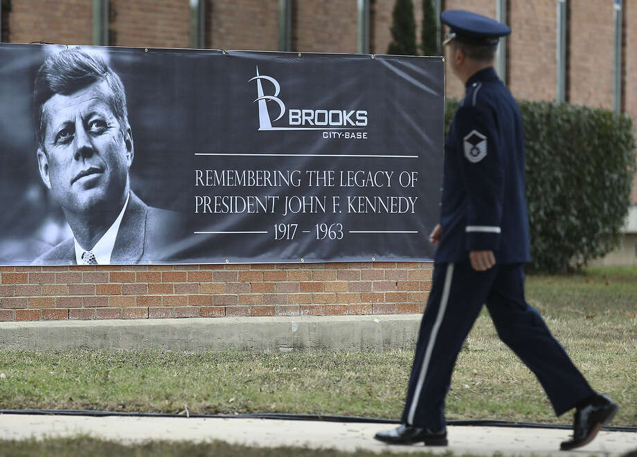 """Officials honored John F. Kennedy's """"Cap Over the Wall"""" speech. Fifty years ago Thursday at then-Brooks AFB, Kennedy asked Americans to overcome seemingly impossible odds. Photo: Photos By Kin Man Hui / San Antonio Express-News"""