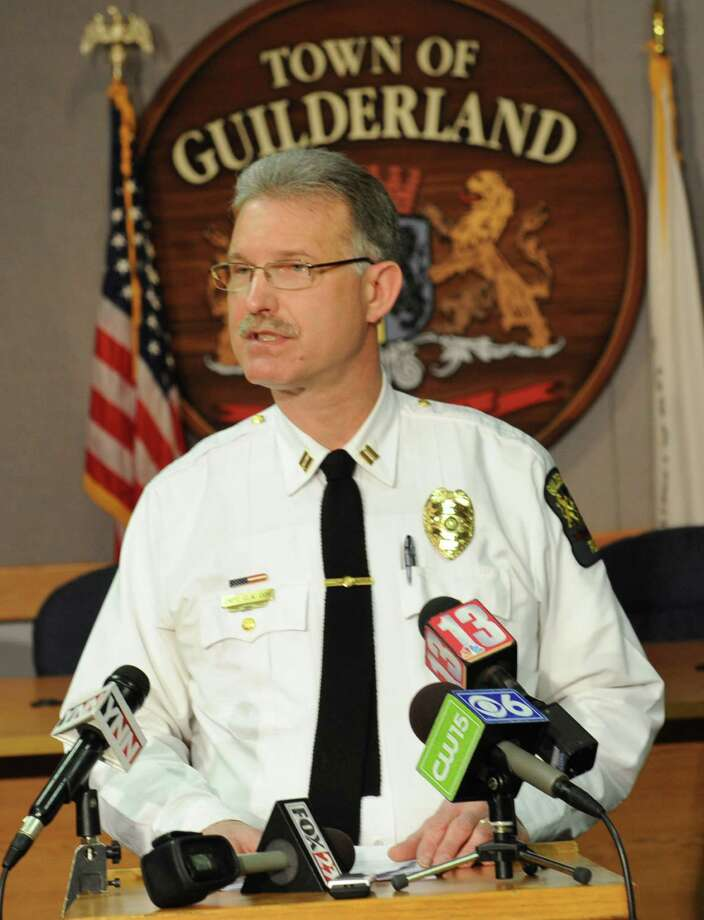 Captain Curtis Cox talks about the four Guilderland High School students who allegedly made an offensive rap video and have been charged with misdemeanors under Albany CountyOs cyberbullying law at the Guilderland Town Hall on Thursday, Nov. 21, 2013 in Guilderland, N.Y. (Lori Van Buren / Times Union) Photo: Lori Van Buren / 00024758A