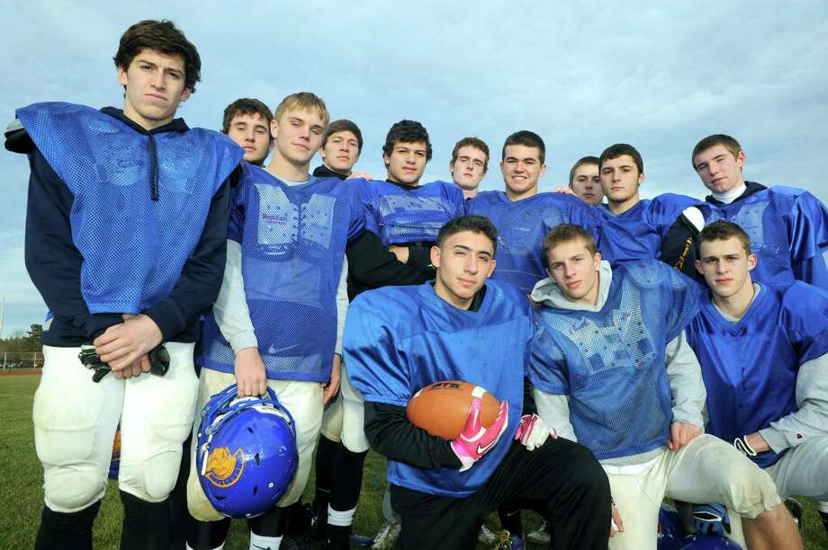 Some of the members of the Queenbury High School football team who have ran the ball this season on Thursday Nov. 21, 2013 in Queensbury, N.Y. (Michael P. Farrell/Times Union) Photo: Michael P. Farrell / 00024744A