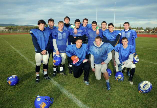 Members of the Queenbury High School football team who have ran the ball this season on Thursday Nov. 21, 2013 in Queensbury, N.Y. (Michael P. Farrell/Times Union) Photo: Michael P. Farrell / 00024744A