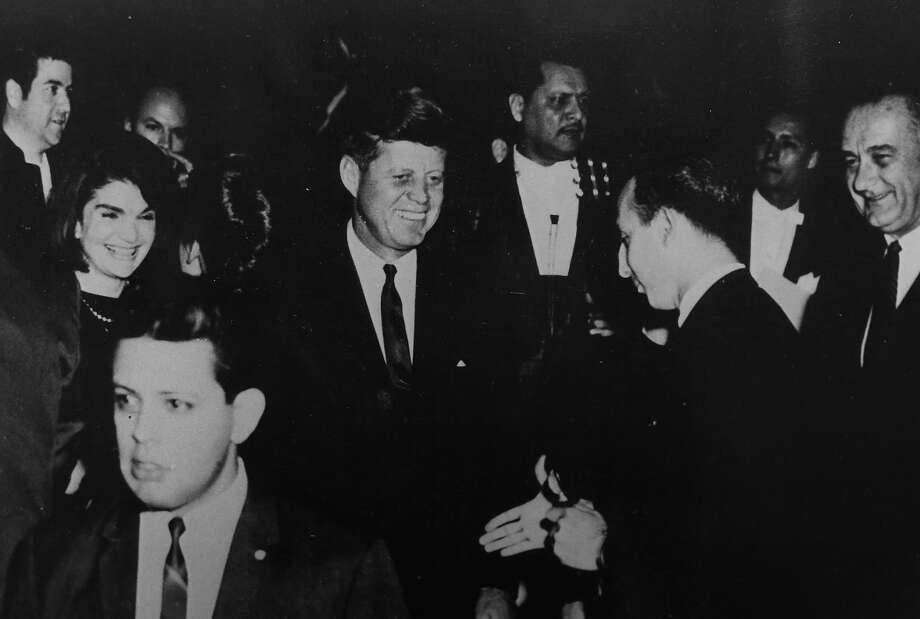 The image of Elizondo getting ready to shake Kennedy's hand was frozen in time the evening of Nov. 21, 1963, at a LULAC event in Houston's Rice Hotel. Photo: Courtesy Photo