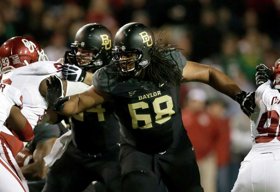 Baylor guard Cyril Richardson (68) has evolved from a player with one college scholarship offer coming out of high school to a likely first-round NFL draft pick. Photo: Tony Gutierrez, STF / AP