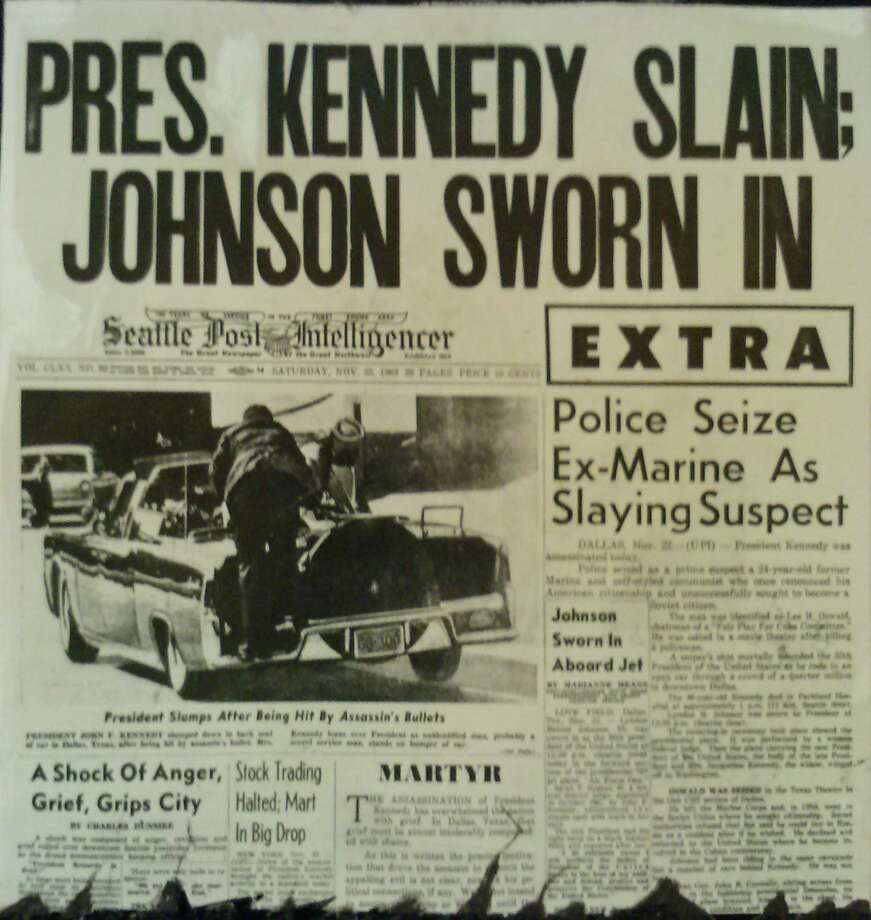 This extra edition of the P-I is dated Nov. 22, 1963, the day of Kennedy's assassination. Photo: Copyright MOHAI, Seattle Post-Intelligencer Collection, 2000.107_print_KennedyAssassination1