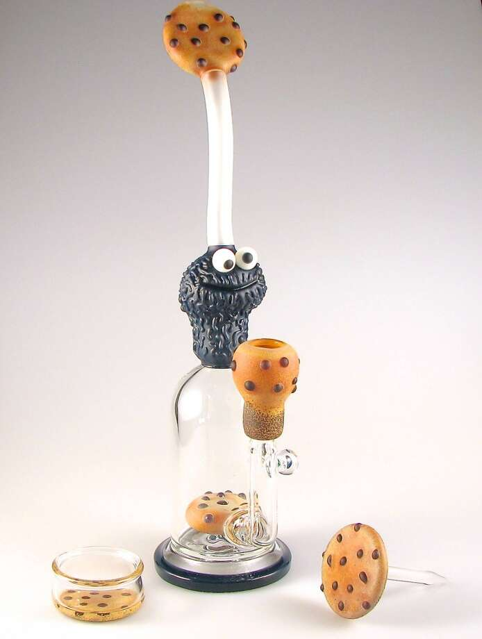 "Robert Morrison's ""Morrison St."" cookie monster bubbler is $3,500 with cookies dabber and dish is a testament to the cookies mania.  http://thecavesmokeshop.com Photo: David Downs"