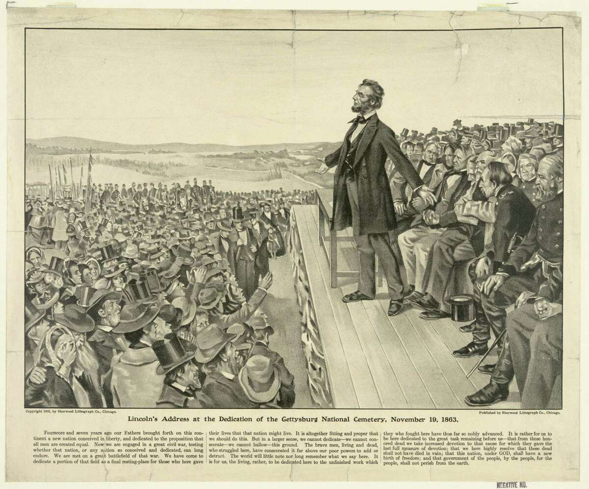 """This 1905 artist's rendering from the Sherwood Lithograph Co. via the Library of Congress depicts President Abraham Lincoln speaking at the dedication of the Gettysburg National Cemetery on Nov. 19, 1863. The Gettysburg Address is unusual among great American speeches, in part because the occasion did not call for a great American speech. Lincoln was not giving an inaugural address, a commencement speech or remarks in the immediate aftermath of a shocking national tragedy. """"No one was looking for him to make history,"""" says the Pulitzer Prize winning Civil War historian James McPherson. (AP Photo/Sherwood Lithograph Co. via the Library of Congress)"""
