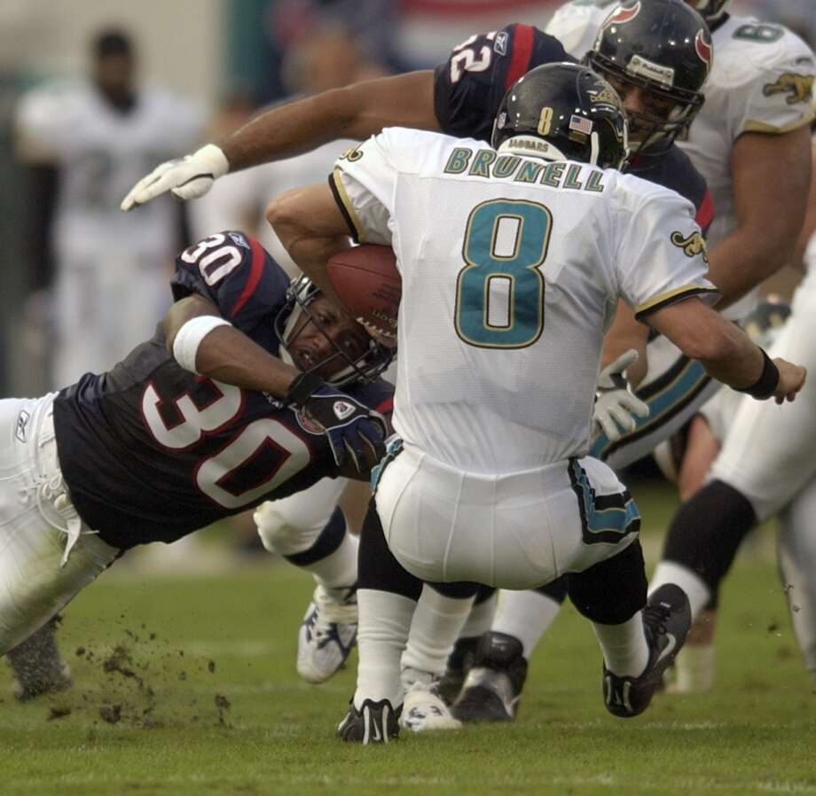 Texans 21, Jaguars 19 Oct. 27, 2002   A Kris Brown field goal with just over two minutes remaining in the game gave the Texans the win in the first matchup between the AFC division rivals. Photo: SMILEY N. POOL, HOUSTON CHRONICLE