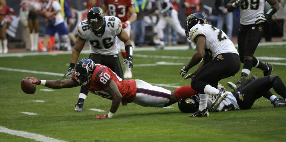 Texans 42, Jaguars 28 Dec. 30, 2007  Quinn Gray threw for over 300 yards and had 4 touchdowns for the Jaguars, but the Texans run game was dominant as Ron Dayne punched in a pair of scores and Darius Walker added another. Andre Davis' 96-yard kickoff return for a TD late in the first half was a huge boost to the team's confidence. Photo: Brett Coomer, Houston Chronicle