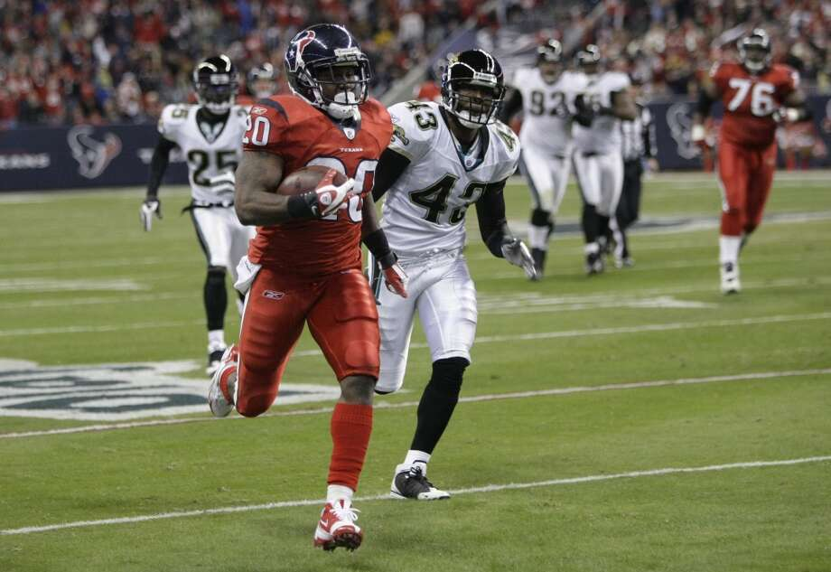 Texans 30, Jaguars 17 Dec. 1, 2008Steve Slaton ran wild in the Texans' first ever Monday Night Football game - racking up 130 yards and scoring twice. Photo: Brett Coomer, Houston Chronicle