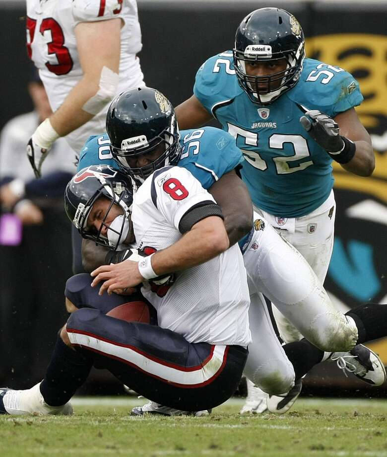 Jaguars 23, Texans 18 Dec. 6, 2009  Three different Texans threw interceptions (Matt Schaub, Rex Grossman and Chris Brown) and Andre Johnson's 99-yard game was overshadowed by turnovers. Photo: Nick De La Torre, Houston Chronicle