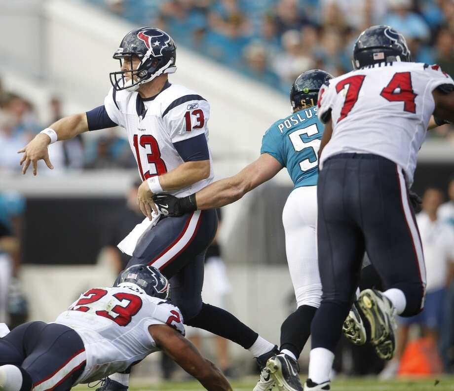 Texans 20, Jaguars 13 Nov. 27, 2011T.J. Yates and Matt Leinart led the Texans to the win in this one and Houston didn't commit a turnover, while forcing 3 fumbles and an interception from the Jaguars. Photo: Karen Warren, Houston Chronicle