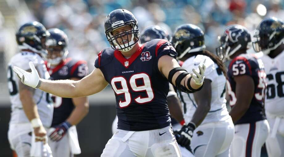 Texans 27, Jaguars 7 Sept. 16, 2012  J.J. Watt recorded a sack and a half and Arian Foster and Ben Tate controlled the clock for the offense - going for 184 yards and three TDs combined. Photo: Brett Coomer, Houston Chronicle
