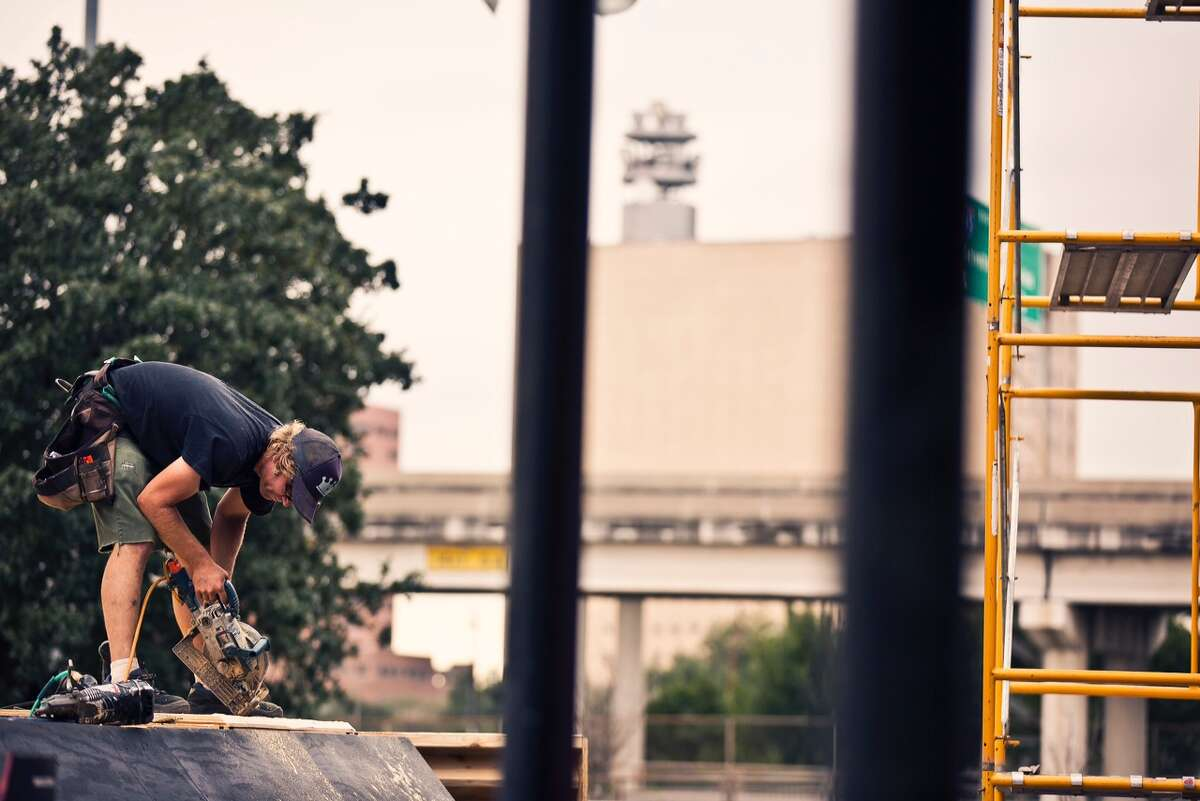 """Downtown Houston's Red Bull Urban Rhythm, termed a """"street art BMX project,"""" involves a collaboration of well known rider Mike """"Hucker"""" Clark and Houston graffiti artist GONZO247. (Red Bull photo)"""