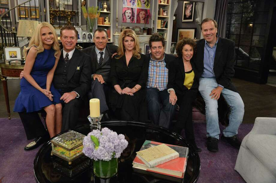 "Greenwich native Marco Pennette, right, is the executive director of ""Kirstie"" a new sit-com starring Kirstie Alley. Pictured with Pennette are, from left, guest stars Kristin Chenoweth and Christopher McDonald, and Kirstie"" cast members Michael Richards, Alley, Eric Petersen and Rhea Perlman. The show premieres Dec. 4 on TV Land with back-to-back episodes beginning at 10 p.m. Photo: Contributed Photo / Greenwich Citizen"