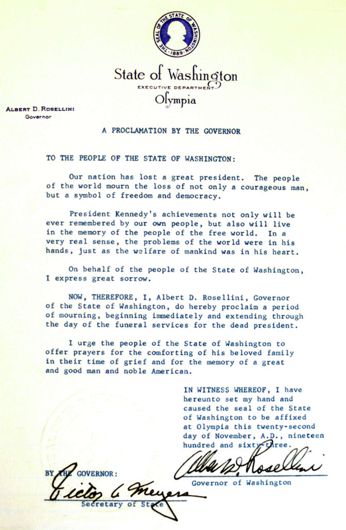 Gov. Albert Rosellini issued this proclamation on Nov. 22, 1963, calling for a period of mourning in the state.