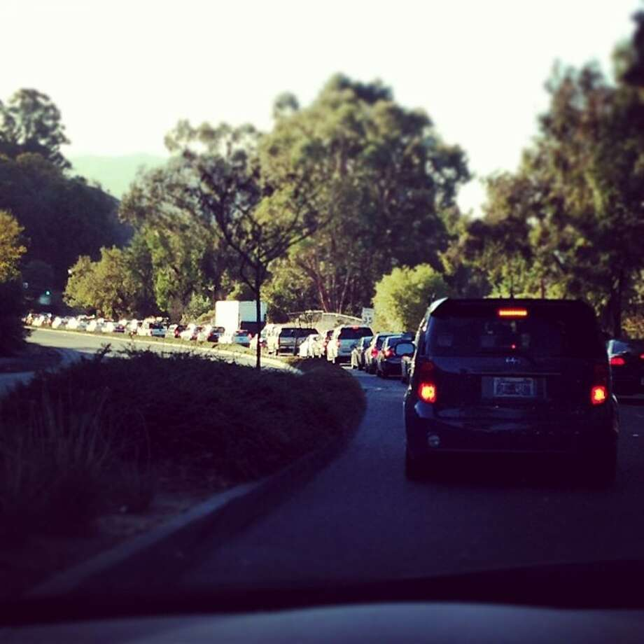Traffic back up on Friday morning southbound Pleasant Hill Road in Lafayette. Disruptions with BART service led to long delays on Bay Area roads. Photo: Courtesy @rosie1208 / Instagram