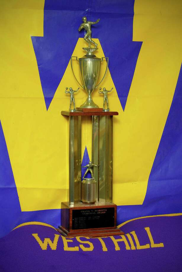 The Frank Robotti Trophy is given annually to the Stamford city football champion. It's photographed at Westhill High School in Stamford, Conn on Friday November 22, 2013. Photo: Dru Nadler / Stamford Advocate Freelance