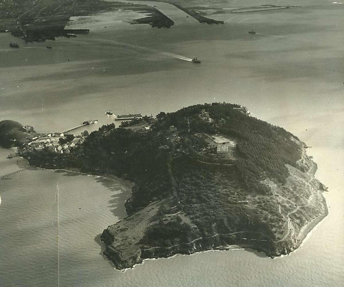Undated aerial photo Goat Island
