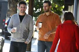 "CEO & co-founder Kevin Gibbon (left) of Shyp meets with venture capitalist Hunter Walk (middle) of HomeBrew to update Gibbon on how Shyp is doing in San Francisco, Calif., on Thursday, November 21, 2013. Former YouTube executive Hunter Walk launched HomeBrew in July with former colleague  Satya Patel, VP at Twitter.  They're investing in companies driving what they call the ""bottom up economy"".  Shyp is a mobile app for on demand shipping worldwide."