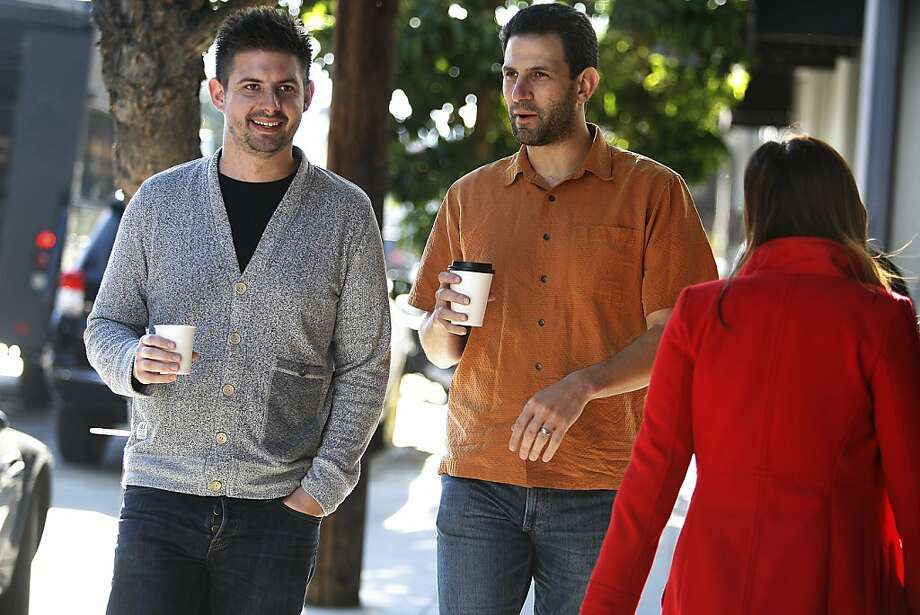 "CEO & co-founder Kevin Gibbon (left) of Shyp meets with venture capitalist Hunter Walk (middle) of HomeBrew to update Gibbon on how Shyp is doing in San Francisco, Calif., on Thursday, November 21, 2013. Former YouTube executive Hunter Walk launched HomeBrew in July with former colleague  Satya Patel, VP at Twitter.  They're investing in companies driving what they call the ""bottom up economy"".  Shyp is a mobile app for on demand shipping worldwide. Photo: Liz Hafalia, Chronicle"