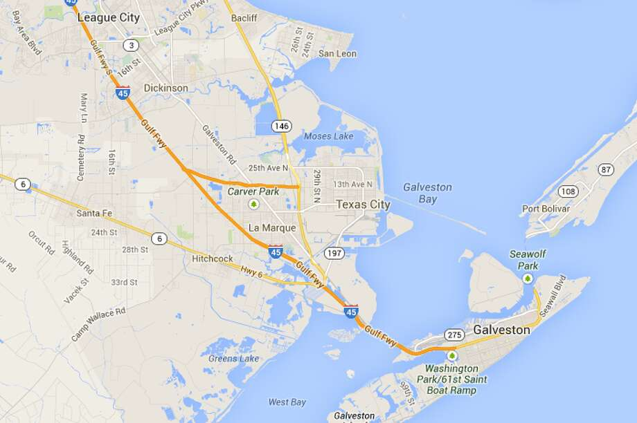 Between Dickinson and GalvestonWhere it is:The last stretch of I-45 southeast of Houston before you cross the bridge onto Galveston Island.