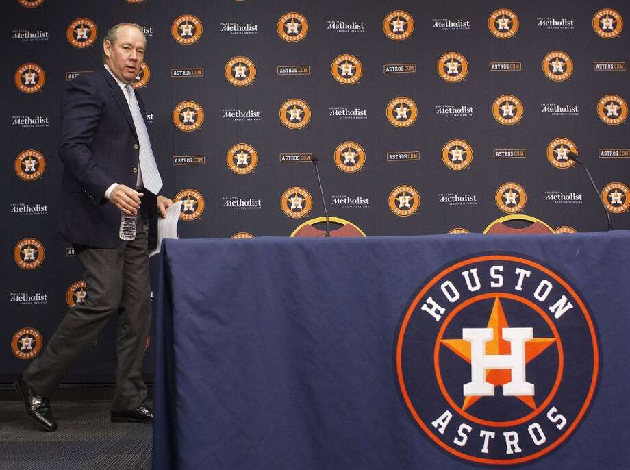 Jim Crane arrives at a press conference at Minute Maid Park. Photo: Johnny Hanson, Houston Chronicle