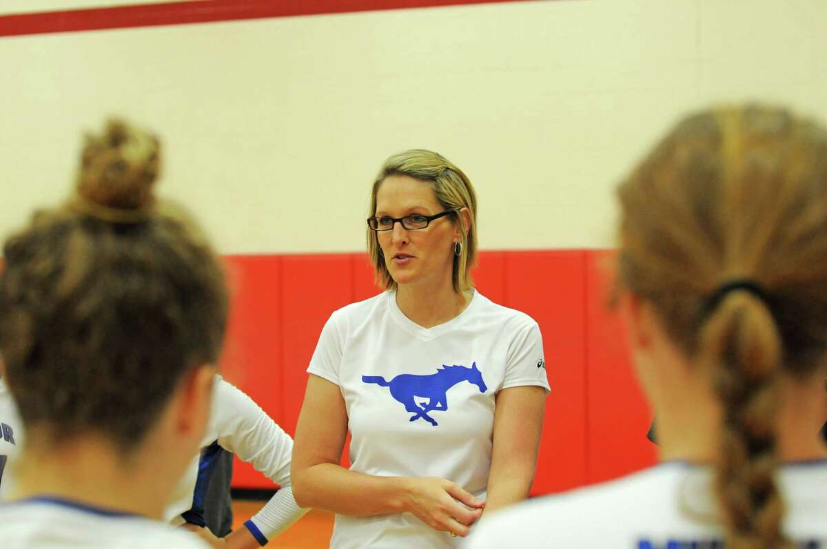 Katy Taylor volleyball coach Brooke Plemons at the Katy ISD Tournament on Aug. 18, 2012.