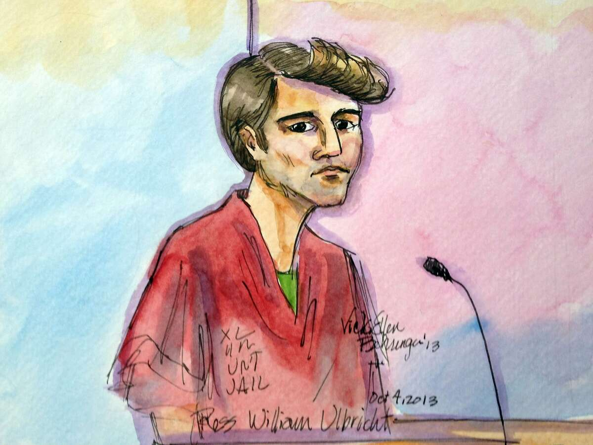"""FILE- In this Oct. 4, 2013 file photo, an artist rendering showing Ross William Ulbricht during an appearance at Federal Court in San Francisco is shown. Authorities say that Ulbricht had spent most of three years """"evading law enforcement, living a double life"""" while operating an underground website known as Silk Road, a black-market bazaar for cocaine, heroin and other drugs, while portraying himself as an Internet trailblazer. On Thursday, Nov. 21, 2013, a federal judge ordered Ulbricht held without bail during a court appearence in New York.. (AP Photo/Vicki Behringer, File)"""