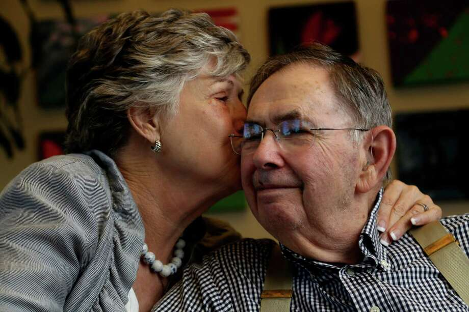 Margaret Kelminson drives her husband, Larry, 62 miles round trip, four days a week to the Amazing Place, a day center for adults. Photo: Karen Warren, Staff / © 2013 Houston Chronicle