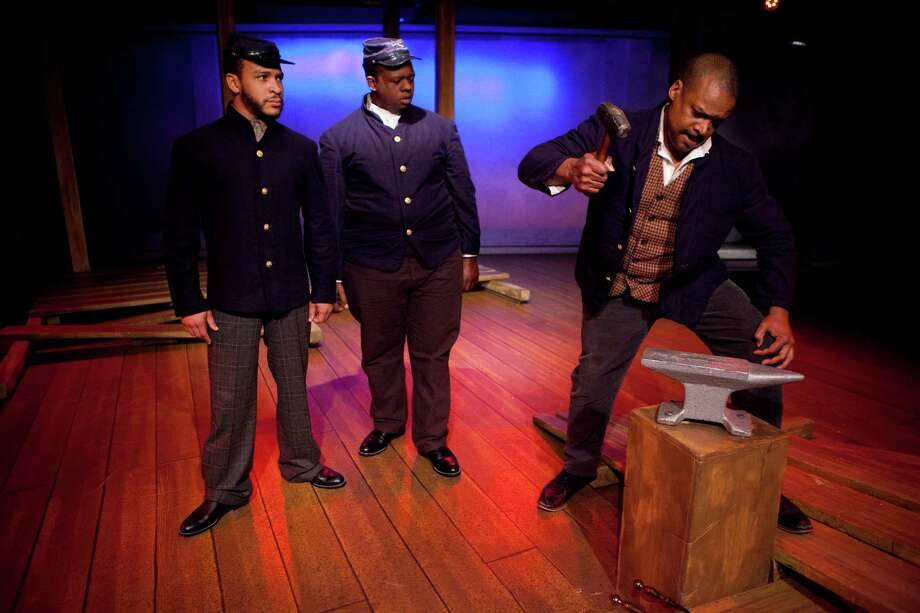 Left to right, Brandon Balgue, Rodrick Randall and Shawn Hamilton as Sgt. Decatur Bronson are part of the A Civil War Christmas cast. Sunday, Nov. 17, 2013, in Houston. ( Marie D. De Jeséºs / Houston Chronicle ) Photo: Marie D. De Jeséºs, Staff / © 2013 Houston Chronicle