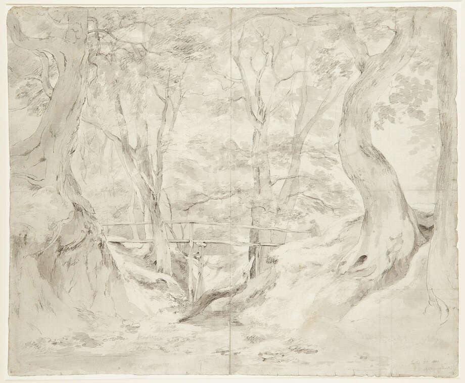"This image made available by auctioneers Christie's in London shows a landscape by John Constable, ""Helmingham Dell, Suffolk,"" which fetched 662,500 pounds ($1.068.000/790,000 euro) _ a record for a drawing by the artist at auction, during an auction of artwork collected by poet T.S. Eliot's widow, Valerie Eliot, in London, Wednesday evening, Nov. 20, 2013. The collection netted 7.1 million pounds ($11.4 million/8.5 million euro) and included drawings and watercolors by 18th- and 19th-century British artists and sculptors including Francis Bacon, Lucien Freud, and David Hockney. (AP Photo/Christie's) Photo: HOEP / Christie's"